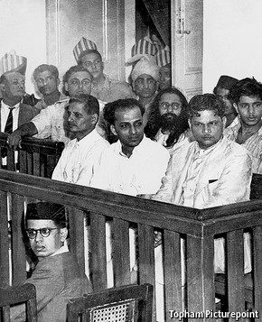 Savarkar (back row, second left) was arrested and tried as a plotter in Gandhi's murder. He was acquitted