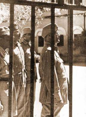 Netaji Subhas Chandra Bose inspects the notorious Cellular Jail on Andaman Island - 1944.
