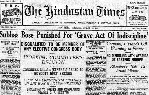 12/8/1939-Bose punished 4 Grave act of indiscipline. Disqualified 2 be member of Elective Congress Body