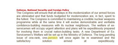 Congress Manifesto on OROP
