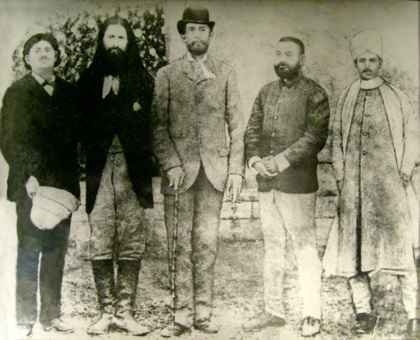 Malaviyaji, A.O.Hume, Weddenburn and Raja Rampal Singh at Congress Session, 1886.