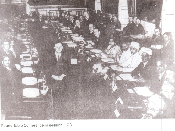 Malaviyaji, Gandhiji and Sarojini Naidu attending Round Table Conference in London, 1931.
