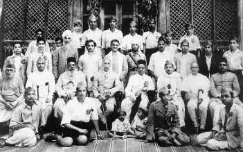 A group photo taken in Shimoga in 1944 when Vinayak Damodar Savarkar came to address the State-level Hindu Mahasabha conference.