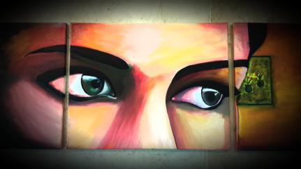 Gaze !! 2 ft x 5 ft .. 3 piece .. oil on canvas